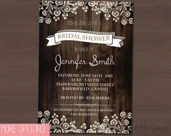 Country Lace Bridal Shower Invitation Digital Download
