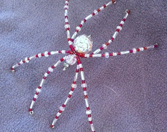 Silver and Raspberry Crystal Spider