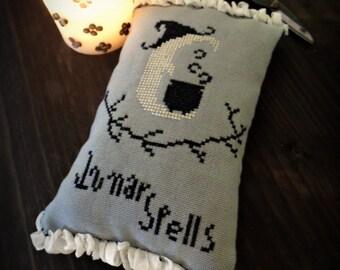 Lunar Spells cross stitch halloween ornament