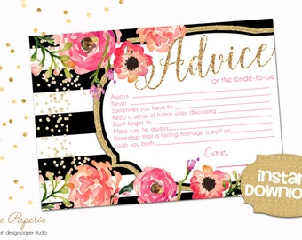 Bridal Shower Advice Card - Black and Gold Confetti Advice Card - Pink Peony - 0124