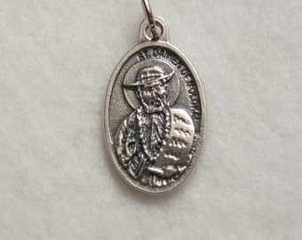 St Damien of Molokai Father St Damien de Veuster Catholic Patron Saint Reversible Medal Metal Oval Charm Pendant Italy