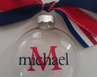 Personalized Ornament-Red White and Blue-Ornament with Name