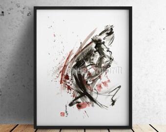 Samurai Poster Warrior Japanese Samurai Sword Art Abstract Calligraphy Artwork Japanese Style Art