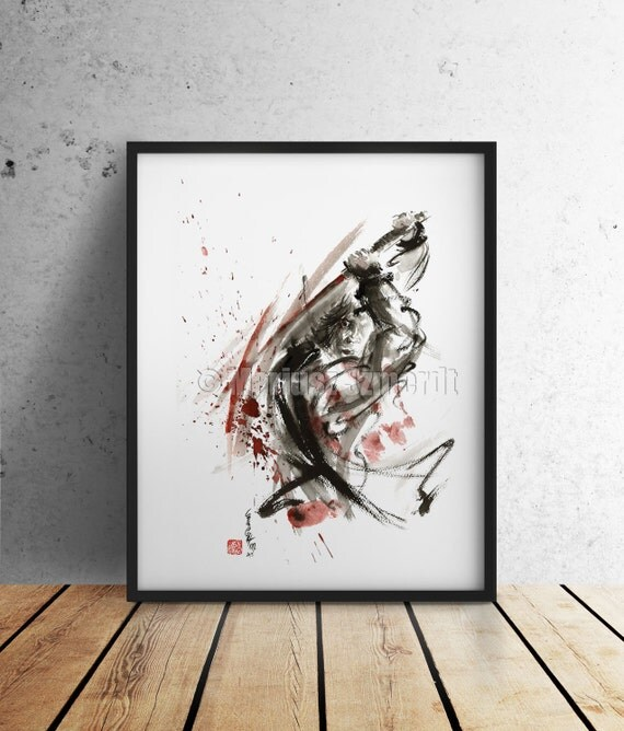 Samurai Poster Warrior Japanese Samurai Sword Art Abstract