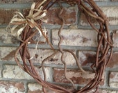 Natural handmade Peace Sign Wreath/ Wall Hanging made from found items