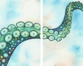 Green Octopus Tentacle Arm Diptych, two 8 x 10 prints of watercolour artwork, ocean marine sea beach theme surf swim sail boat diver lover