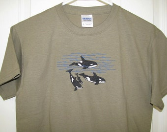 Kids Custom Embroidered Orca Whale Pod T-Shirt inspired by a whale watching trip