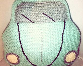 car cushion, beetle bug designs, vw bug accessories, vw pillow, volkswagon beetle, volkswagon bug, vw crochet pattern, pattern pdf