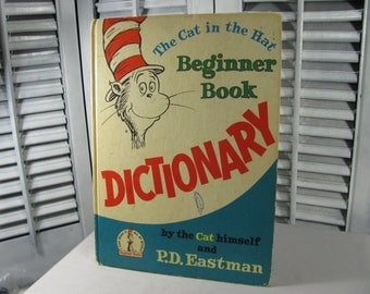SALE 1964 The Cat In The Hat Beginner Book Dictionary by Dr. Suess P.D. Eastman Illustrated Vintage Hardcover Children's Book