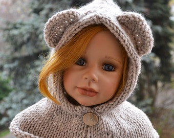 Knitted  hood, Animal Cowl, Hooded Cowl, Bear Hat, Bear Cowl, Hooded Bear Cowl, Bear Hood, Knitted Bear Cowl