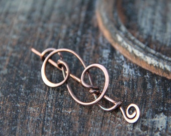 """Shawl pin, scarf pin, sweater pin, sterling silver or copper shawl pin """"Fancy swirls"""", silver shawl pin, copper brooch, cardigan clasp,"""
