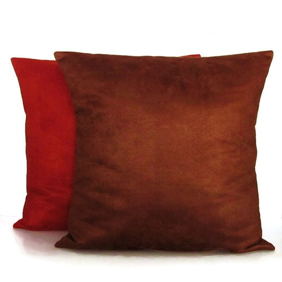 Brown Rust Orange Suede Pillow Cover Decorative Accent Throw