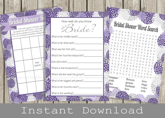 BRIDAL Shower Games Set / Bingo, Word Search, How Well Do