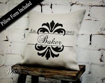 personalized gift, Personalized pillow, Est Date Pillow, Burlap Pillow, Throw Pillow, modern farmhouse, magnolia farms, Wedding Gift