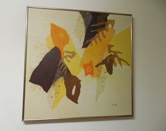 Mid Century Modern abstract painting collage by listed Chicago artist Thomas Paar (1921 - 1991 ) Eames painting mixed media art wall hanging