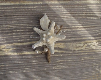 Beach wedding boutonniere, beach wedding buttonhole, starfish boutonniere, nautical coastal bout, coastal wedding corsage, starfish corsage