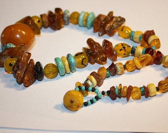 AMBER fromMorocco big one  and lithuanian amber necklace with turquise and lampwork beads from India Polka- dot beads yellow