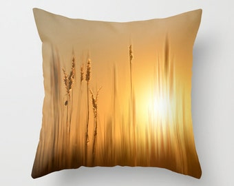 Marsh grass at sunset Throw Pillow Cover, home decor, photo pillow, gold, brown, nature decor