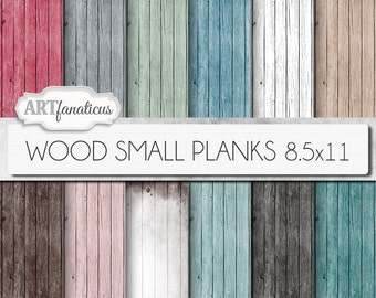 "Digital wood papers ""WOOD SMALL PLANKS"" textured digital background in mint green wood grain, aqua, pink, red, white wood, wood background"