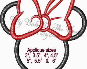 Minnie Mouse Embroidery Applique design inspired by Disney
