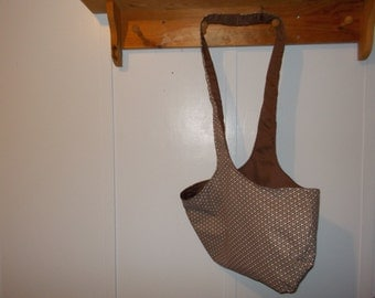 Hobo bag. Chocolate brown and white print with chocolate reversible
