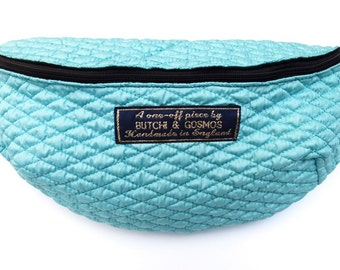 Sky Blue or Coral Pink 'Cumulus' Quilted Bumbag / Fanny pack / Hip bag / belt bag you choose zip colour