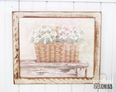 RESERVED ~ Farmhouse Prairie Style Basket of Daisies on Chippy Table Print Art ~ Rustic Painted Wood Frame