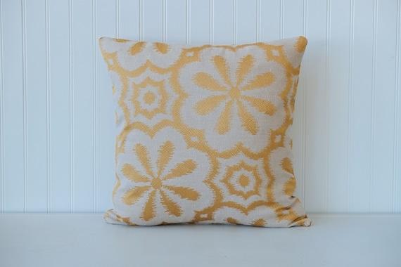 Items similar to Gold, metallic, decorative throw, pillow, flower, ikat design, home decor, home ...