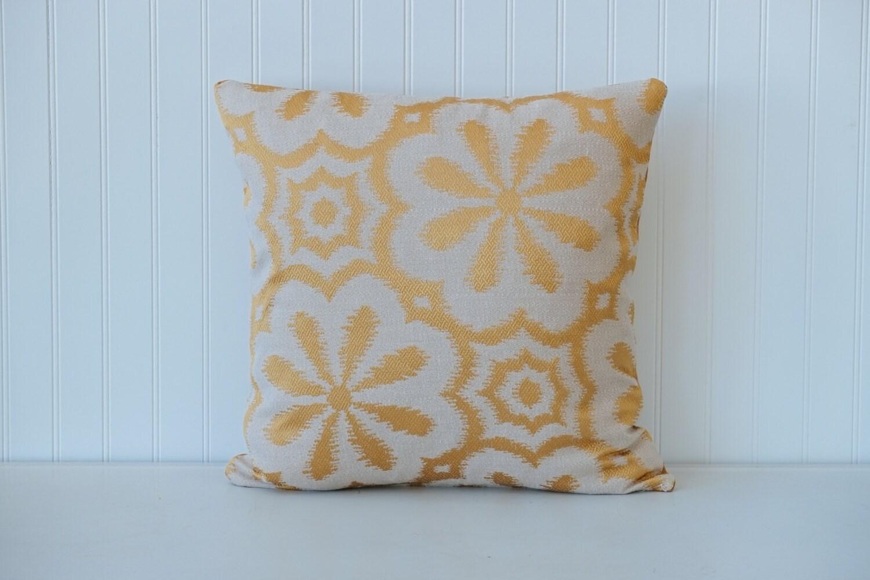 Gold metallic decorative throw pillow flower by OldLakeGeorge