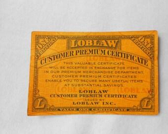 22 Vintage Loblaw Customer Premium Certificates Circa 1950's