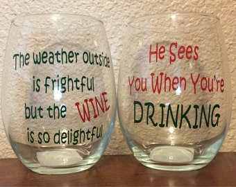 Christmas Stemless Wine Glasses - Set of 2