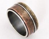 Rustic mixed metal men ring - wide band ring,silver copper ring,men engagement ring,men wedding band ring