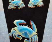 Maryland Blue Crab Sterling Silver Pin Brooch and Earrings Baltimore Hon Demi Parue