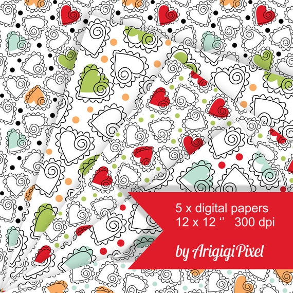 Hand-Drawn Hearts - Digital Scrapbooking Papers -  seamless pattern