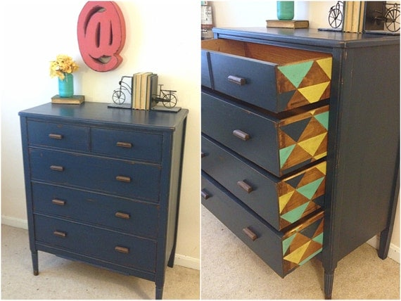 Unavailable listing on etsy for Navy blue painted furniture