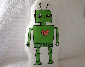 Green Robot Pillow, Robot Pillow, Hand Drawn Pillow, Baby Gift, Nursery Decor, Kid Gift, Decorative Pillow, Room Pillow, New Baby, Christmas