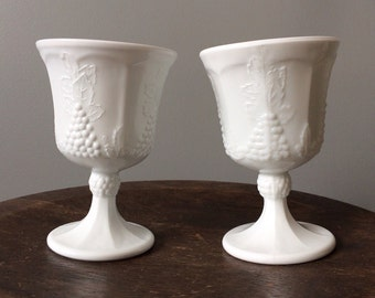 Vintage Colony Milk Glass Wine Goblet Set of 2 Harvest Grapes Fluted Kitchenware White Grapevine Glassware Cottage Chic Kitchen Home Decor