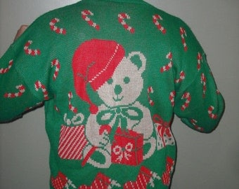 Hysterical Vintage Teddy bear in santa Hat Tacky Ugly Christmas Sweater Size 22W Mens or Womens  Festive  Bright Front & Back