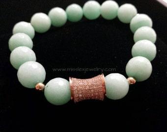 Mint and CZ Rose Gold Bracelet