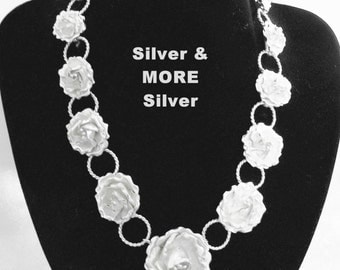Sale! Lovely Vintage Mexican TAXCO 980 SILVER Floral Rose Heavy 75 GM Necklace ~ 2Die4!