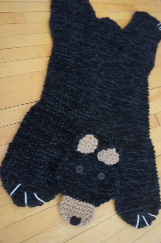 Bear Rug Knitting Pattern : Hand knit inch black bear rug mat blanket