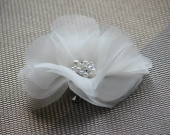 Organza hair flower Ivory hair flower Ivory hair clips Ivory organza hair clips Ivory headpiece Oragnza hair piece Ivory wedding flower
