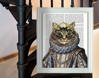 Funny Cat poster - Cat Queen - cat decor cat illustration cat picture gift for cat lover tabby cat print funny cat art cat portrait cat gift