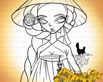 Digital stamp- Lucy Loo 'Lucyhanbok' - 300 dpi JPEG / PNG files -MAC0178