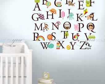 Alphabet Wall Decal - Nursery Wall Decal - Playroom Wall Decal- Play Room Wall Decal - Custom Decal Wall Graphics 01-0036