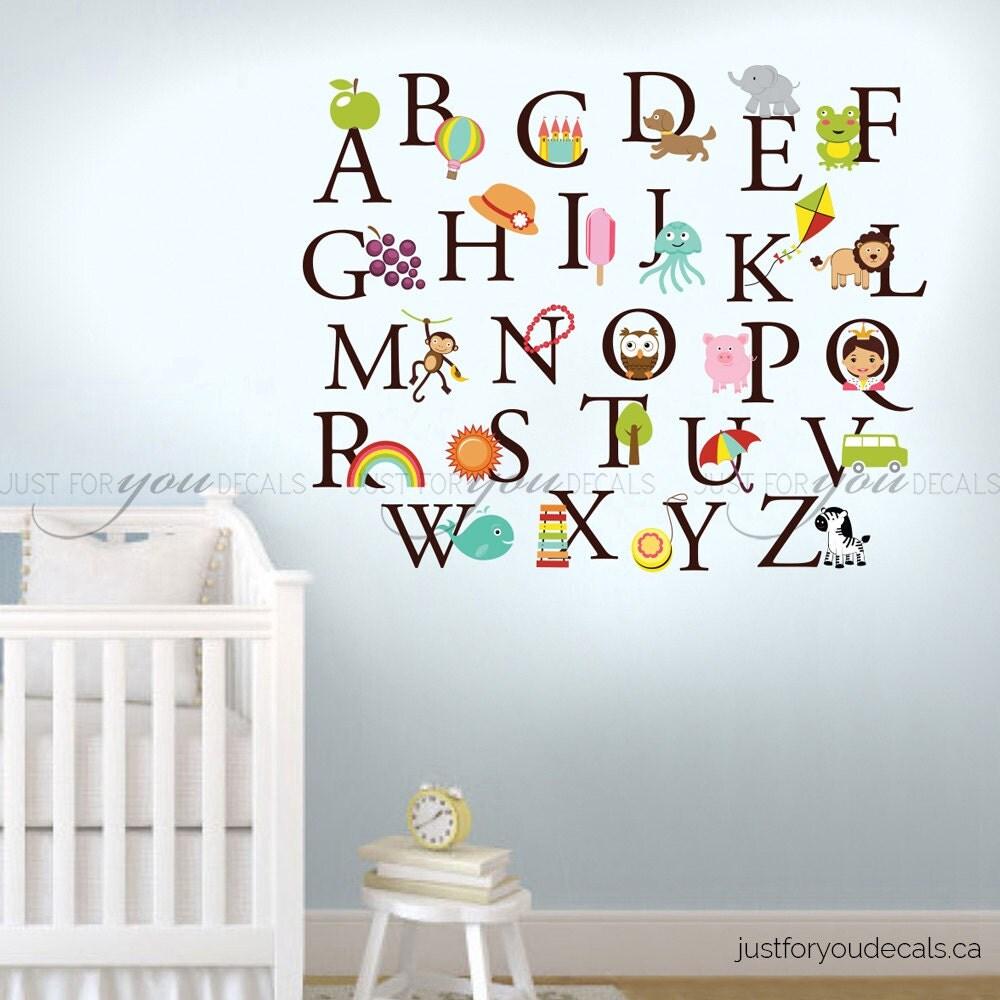 alphabet wall decal nursery wall decal playroom wall