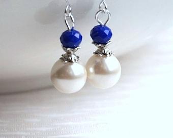 Royal Blue Bridesmaid Earrings Bridesmaid Jewelry Ivory Royal Blue Earrings Bridesmaid Jewellery Royal Blue Bridesmaids Jewelry