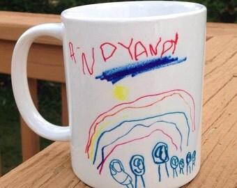 Personalized Child's Drawing on a Coffee Mug - Original Children's Art Everlasting Keepsake - Kids Artwork Keepsake