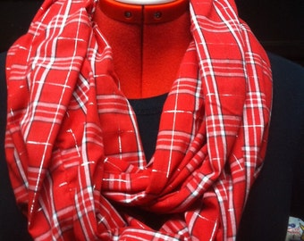 Red and White Plaid Cotton Infinity Scarf