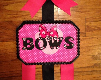Minnie Mouse Hot Pink and Black Bow Holder